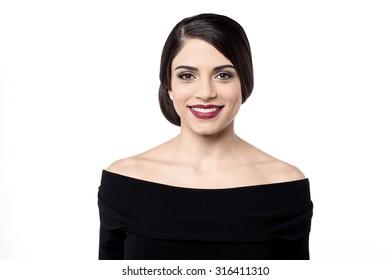 Beautiful smiling woman isolated over white