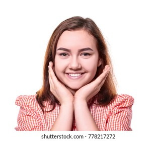 Beautiful smiling woman on white background