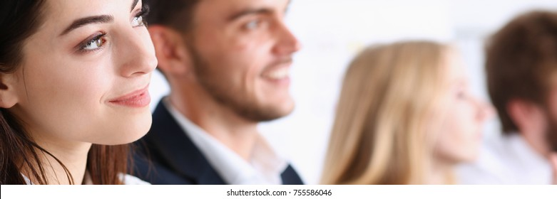 Beautiful smiling woman portrait with group of people listen carefully during seminar. Study event client conversation job customer support service case hear in court leader performance concept