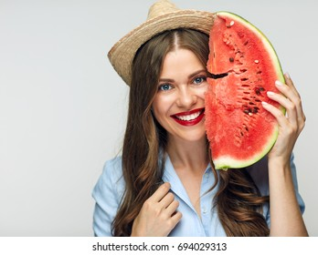 Beautiful smiling woman portrait with watermelon. Summer vitamin food concept.