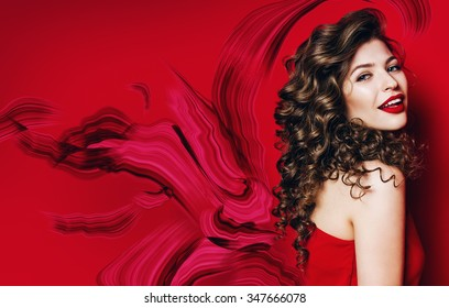 beautiful smiling woman with red lips and red abstract on red background