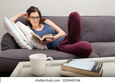 Beautiful smiling woman relaxing on home living room sofa enjoying reading, healthy entertainment indoors. Intellectual female holding book wearing reading glasses, recreation leisure lifestyle.