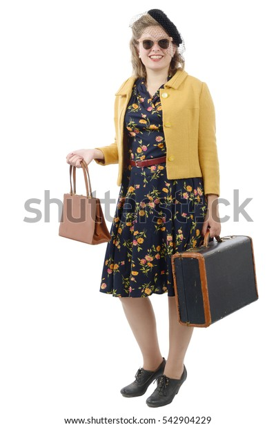 beautiful smiling woman with vintage clothes