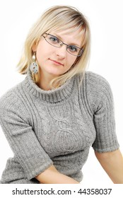 Beautiful smiling woman wearing glasses portrait isolated on the white background.