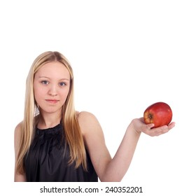 beautiful smiling young blonde girl with an apple