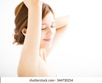 beautiful smiling Young woman with clean armpit