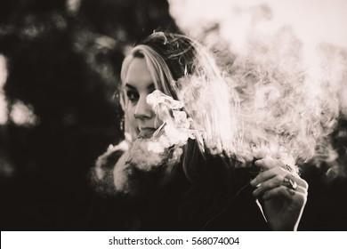 beautiful smoke in the sun black and white