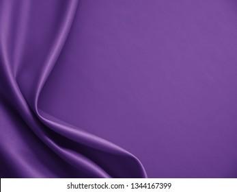 Beautiful smooth elegant wavy dark violet purple satin silk luxury cloth fabric texture, abstract background design. Card or banner.