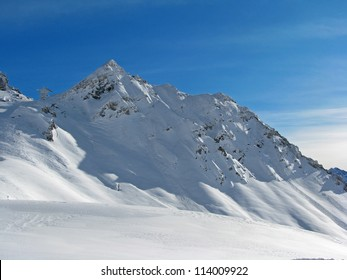 Beautiful snow capped mountain in Austrian Alps
