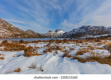 Beautiful snow covered landscape around,Dove Lake And Cradle Mountain. Cradle Mountain Lake St Clair National Park.Central Highlands of Tasmania, Australia.