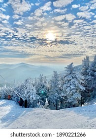 Beautiful snow day at the Stowe Mountain Ski resort Vermont - December 2020