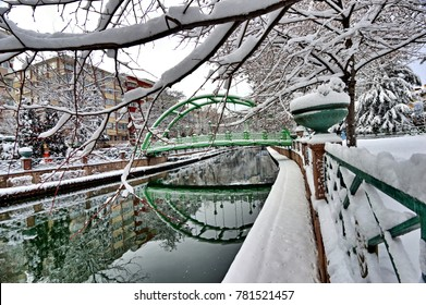 Beautiful Snow Landscape of Porsuk River with The Reflection of City in Winter season, in Eskisehir, Turkey