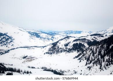 Beautiful snow mountain range landscape in Kyrgyzstan