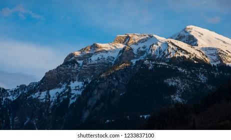 Beautiful snow mountain with sunlight at Interlaken, Switzerland