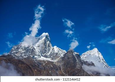 Beautiful snow mountain views on route to Everest Base Camp, landscape