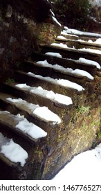 Beautiful snow on stairs with algae on wall.