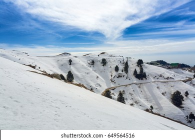 Beautiful Snow in peak winter at Dainkund peak at Dalhousie, Himachal pradesh, India.