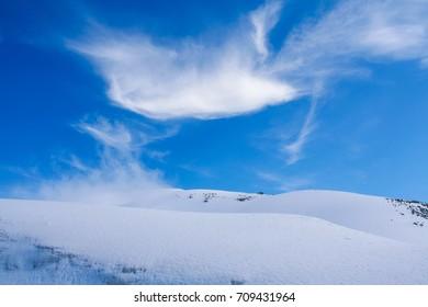 Beautiful snow surface and cloud scene at Tateyama Kurobe alpine route, Japan
