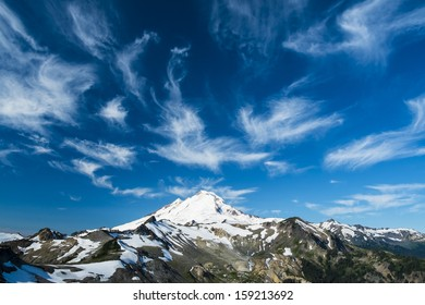 Beautiful snowcapped Mount Baker under high cirrus clouds, Washington state Cascades