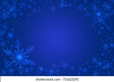 Beautiful snowflakes on a blue background