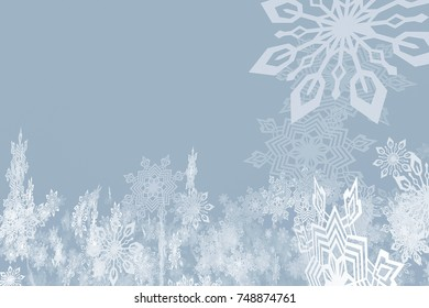 Beautiful snowflakes whirling in the air on a gray-blue background. 3d illustration