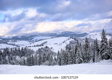 Beautiful snowy landscape in mountains on winter day