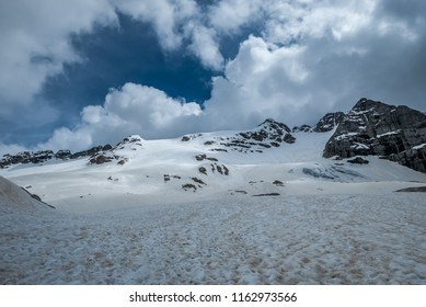 Beautiful snowy slope of Marmolada mountain in Dolomites