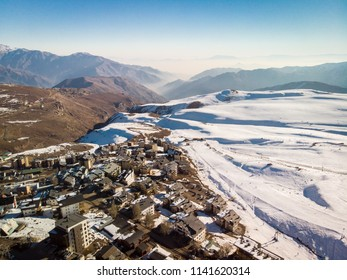 Beautiful snowy town at Andes Mountains where people go to do snow sports