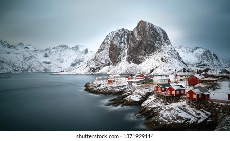 beautiful snowy winter landscape on Lofoten island - Hamnoy village