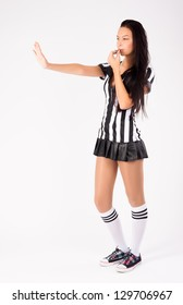 Beautiful Soccer Referee with stop gesture at white background