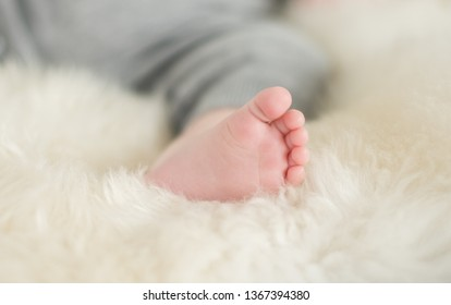 A beautiful soft delicate warm young baby foot photographed with a shallow depth of field. gentle calm colours and feel. baby care and well being. babies feet on a cream fur rug.