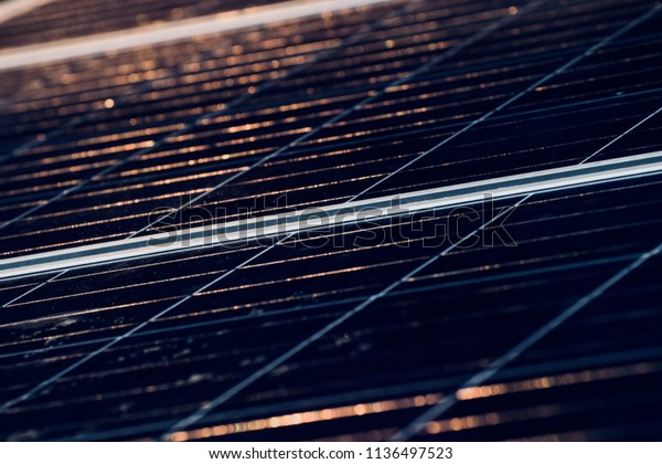 A beautiful solar panel surface with blurry lights background unique photo
