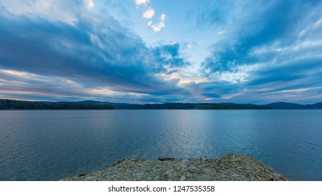 Beautiful Solinskie lake in Bieszczady mountains. Beautiful mountain lake under blue sky with clouds.