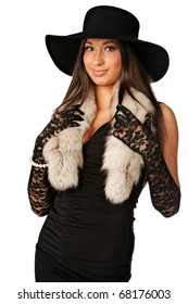 Beautiful Sophisticated Chanel Girl with Un cropped Hat on White