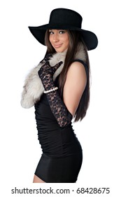 Beautiful Sophisticated Chanel Girl with Uncropped Hat on White
