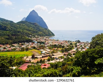 beautiful soufriere village and pitons at jalousie bay st. lucia