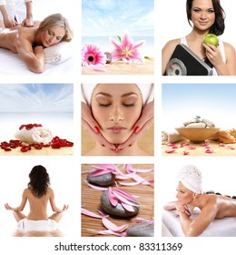 Beautiful spa collage made of many elements