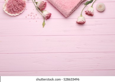 Beautiful spa composition on pink background