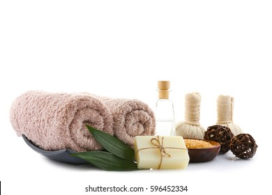 Beautiful spa composition on white background