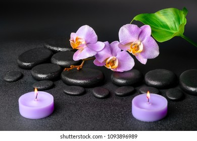 Beautiful spa composition of zen stones with drops, lilac orchid (phalaenopsis), candles and green leaf on black background