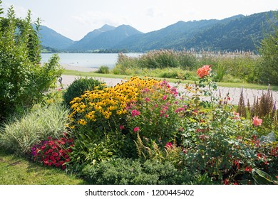 beautiful spa garden with autumnal flowers in vivid colors, lakeside schliersee upper bavaria. coneflowers, roses and phlox.