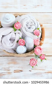 beautiful Spa still life.  Beauty cosmetic products.  Spa still life concept. Top view,