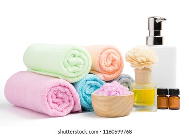 beautiful spa treatment set isolate on white background