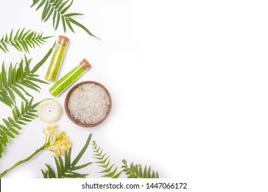 beautiful spa treatment set isolate on white background
