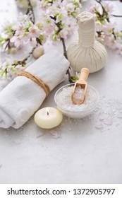beautiful spa treatment tropical set