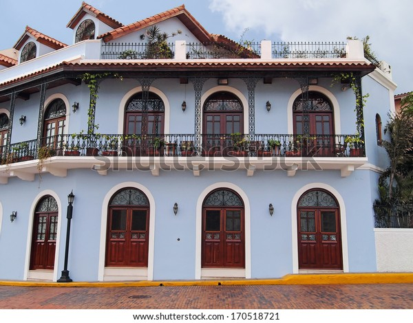 Beautiful Spanish colonial house with wrought iron and plants, Casco Viejo, Panama City, Panama