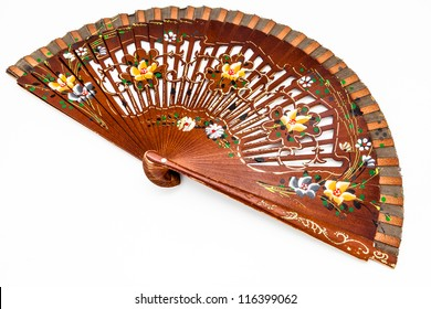A beautiful spanish fan on a white background