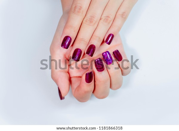 Beautiful Sparkling Purple Glitter Gel Nail Stock Photo (Edit Now ...