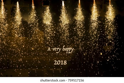 Beautiful sparkling spotlights in theatre with text 'A very happy 2018!