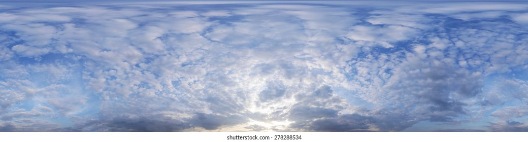 Beautiful spherical panorama of the sunset sky. Use it in your aerial and ground spherical panoramas!